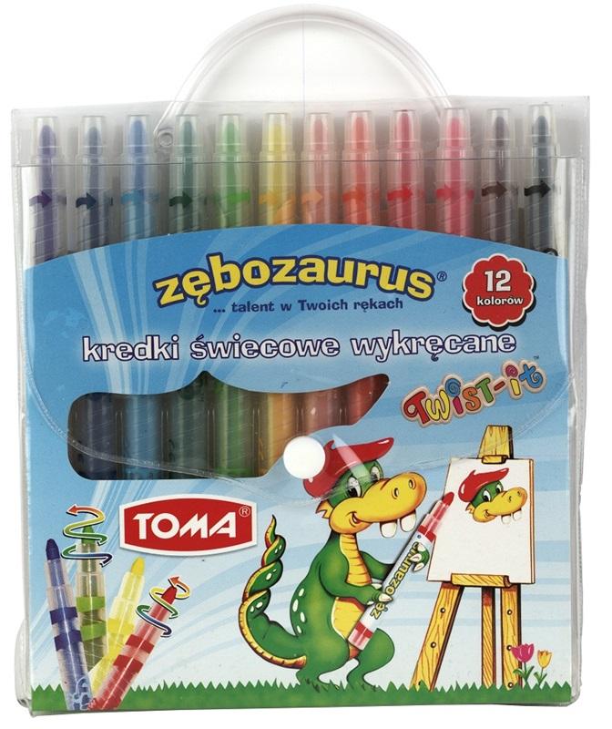 Kredki wykręcane Zęzbozaurus TWIST-IT /12 kolorów TO-570