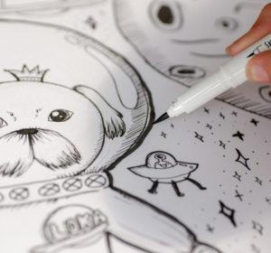 Kosmiczne wakacje – rysunki cienkopisami